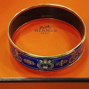 AUTH HERMES WIDE BLUE GOLD MOTIF ENAMEL BANGLE